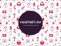 Valentine's Day Vector Free Seamless Pattern