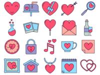 Happy Valentines Day Vector Free Icon Set