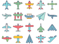 Airplane Vector Freebie Icon Set