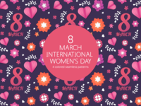 8 March International Women's Day Vector Patterns