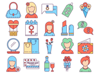 8 March International Women's Day Free Vector Icons