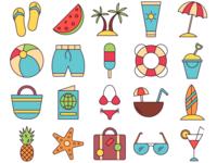 Summer Vector Freebie Icon Set