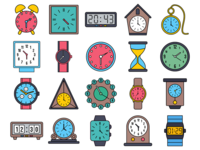 Clock Vector Freebie Icon Set