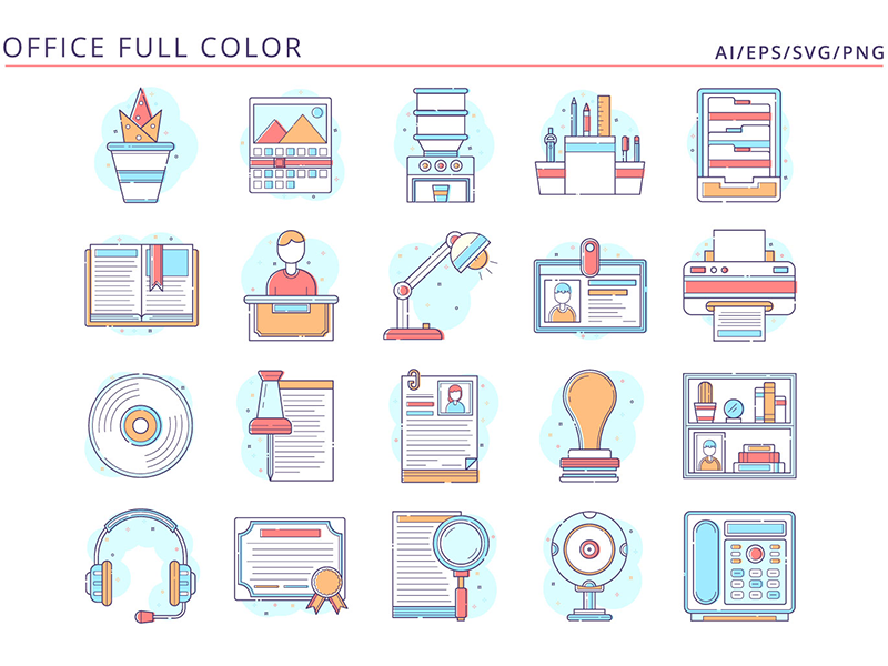 20 Office Icons Free Vector Art office typography icons vector graphics freebie free