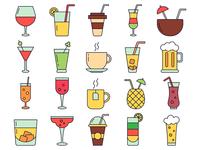 Drinks Vector Freebie Icon Set