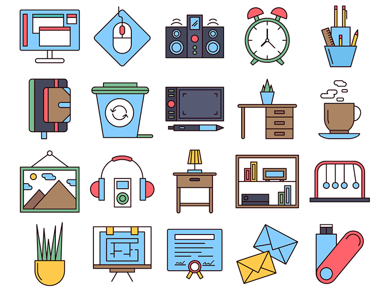 Workspace Vector Freebie Icon Set workspace typography icons vector graphics freebie free