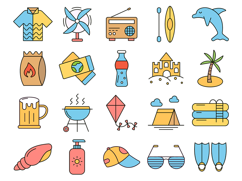 Summer Time Vector Freebie Icon Set summer icons vector graphics freebie free