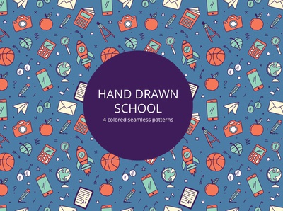Hand Drawn School Vector Seamless Pattern