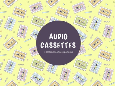 Audio Cassettes Vector Seamless Pattern