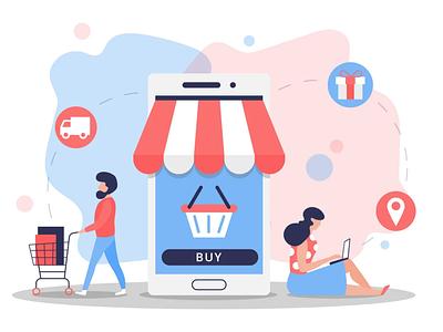 Online Shopping Vector Illustration shopping online shopping illustration typography vector graphics