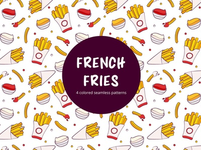French Fries Vector Seamless Pattern french fries typography pattern vector graphics