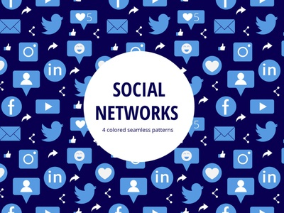 Social Networks Vector Seamless Pattern social typography vector graphics