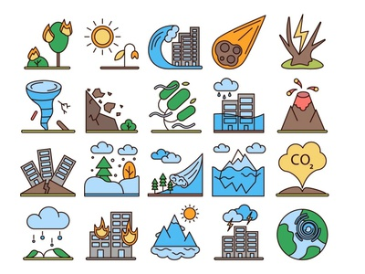 Natural Disasters Vector Free Icon Set icons typography vector graphics freebie free