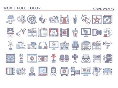 50 Movie icons ui design icons typography vector graphics