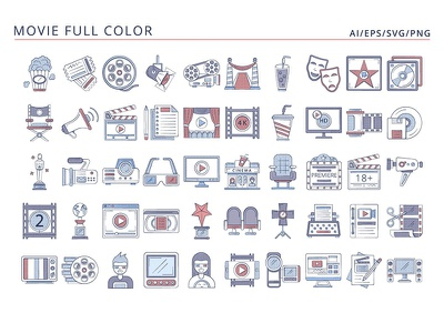 50 Movie icons ui design icons typography vector graphics