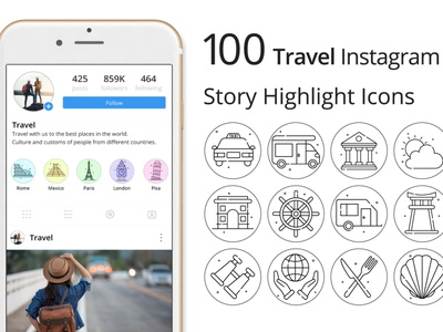 Travel Instagram Story Highlight Icons instagram stories instagram travel icons typography vector graphics
