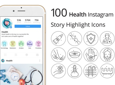Health Instagram Story Highlight Icons instagram stories health illustration icons typography vector graphics