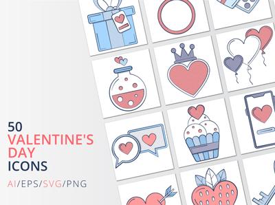 50 Valentine's Day icons valentinesday valentine day valentine typography icons vector graphics