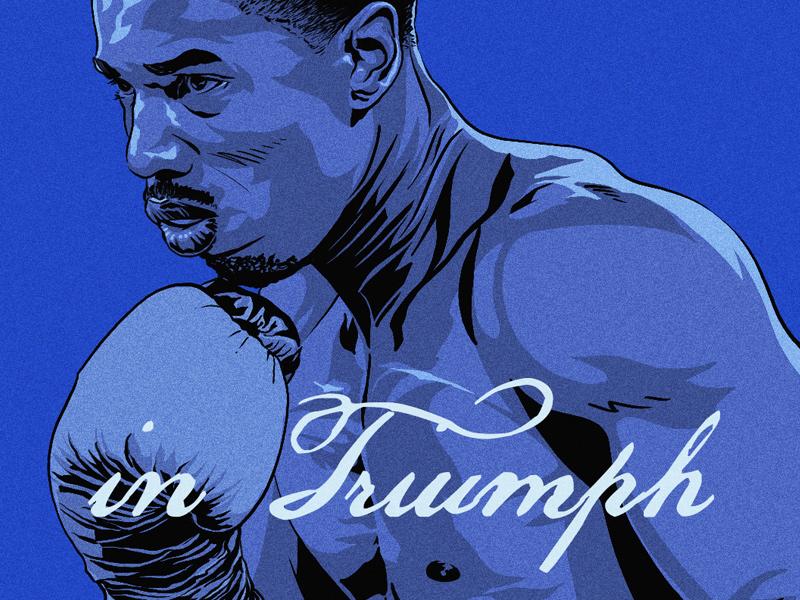 Creed triumph michael b jordan blue illustration boxing adonis creed apollo creed creed rocky