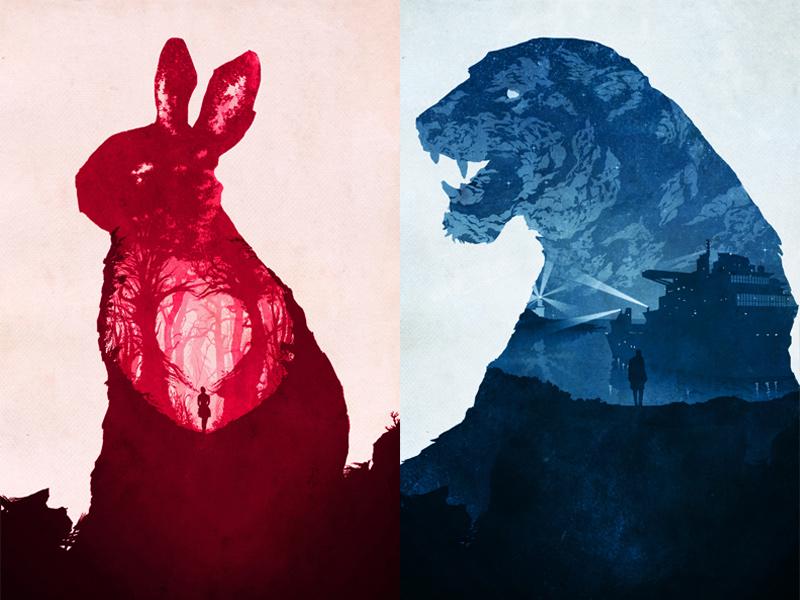 Animal World poster film tiger rabbit jack c. gregory illustration animal world