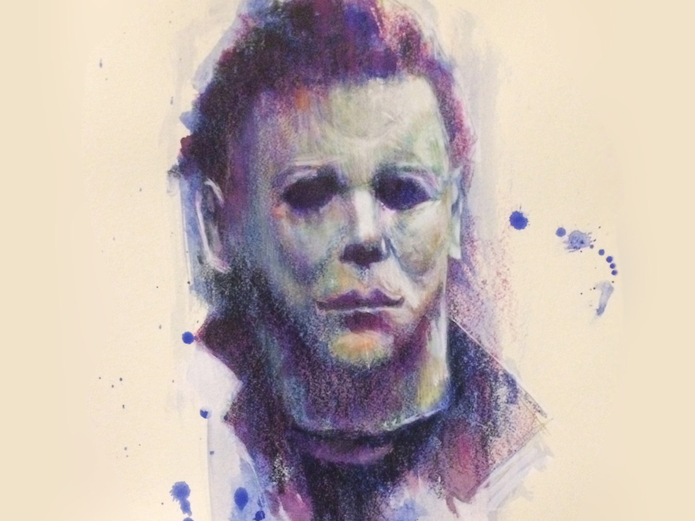 Michael Myers film portrait colored pencil acrylic painting horror 1978 john carpenter michael myers halloween halloween movie illustration jack c. gregory