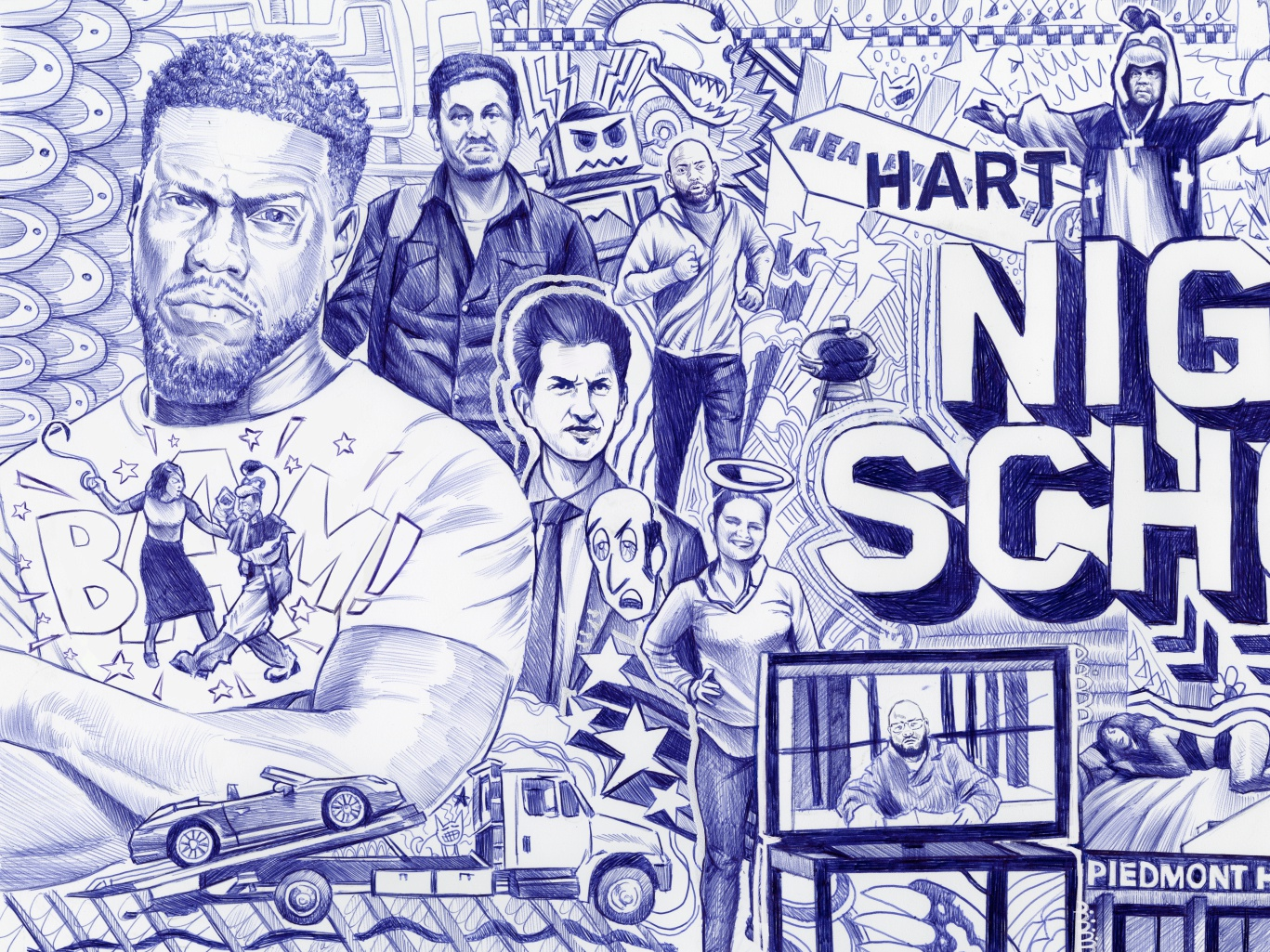 Night School 2 jack gregory jack c. gregory bic pen pen and ink illustration posting out of home ooh promo kevin hart night school