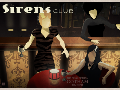 The Sirens Club - GOTHAM jack gregory jack c. gregory dc comics fox television film vintage deco graphic designer illustration sirens club gotham batman