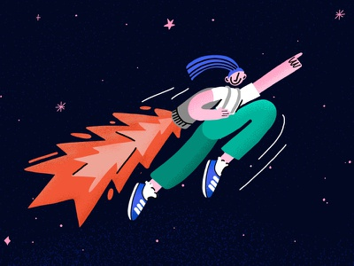 Creative Mind Classs Homepage Character illustration art rocket female character universe stars creative mind class website illustration illustration character jetpack space
