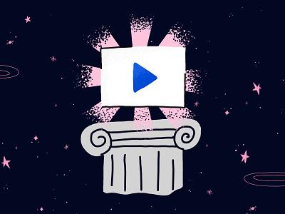 Video platform illustration column space universe illustration video player video