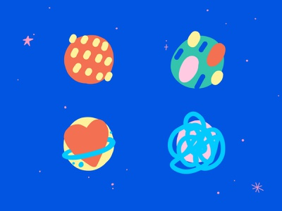 Abstract icons - part 1 illustration space universe planets creative mind class concept art icons