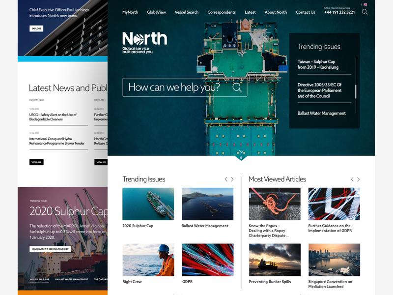 North ux ui corporate responsive desktop insurance ships white space