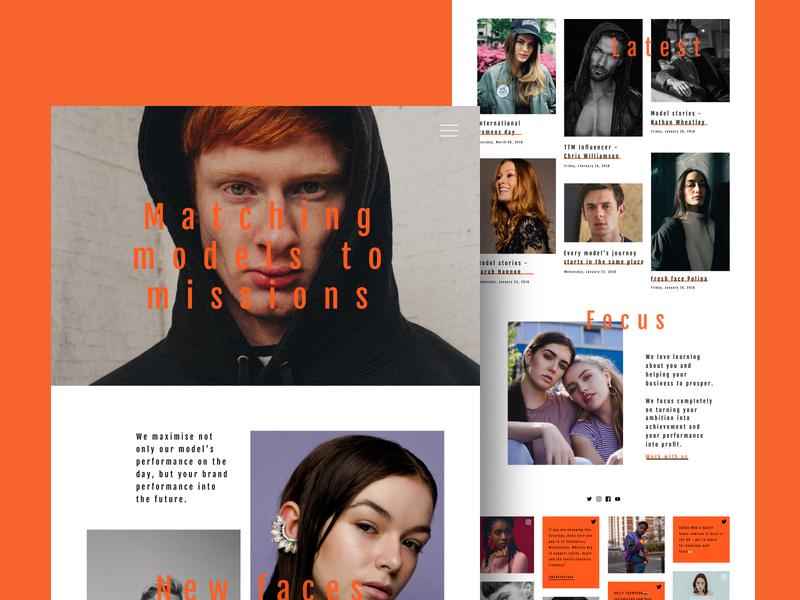 Models to Mission ux ui white web modeling orange desktop