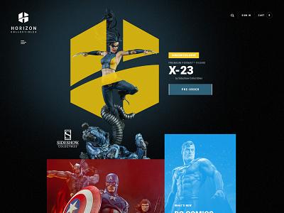 Horizon Collectibles - Online Store Concept WIP sideshow entertainment movie superhero commerce website logo webdesign store eshop spiderman dc disney comic marvel avengers superman x-men collectible
