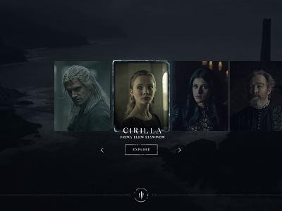 Netflix The Witcher - Website Character selection screen witcher web design ux ui tv series netflix movie interactive full screen fantasy experience design dark custom black
