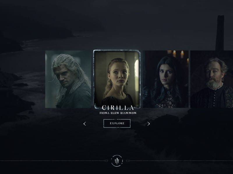 Netflix The Witcher - Website Character selection screen witcher web design ux ui tv series netflix movie interactive full screen fantasy experience design dark custom black