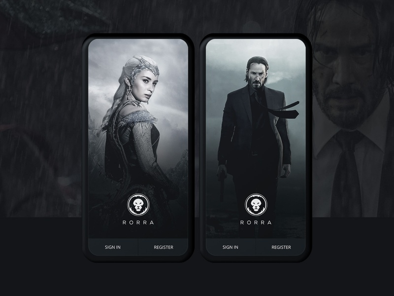 Rorra - Movies Streaming App entertainment movie series tv logo branding app ui ux mobile dark imdb netflix movies app movies