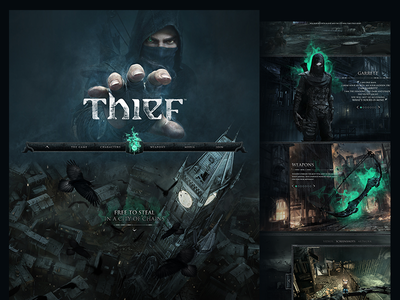 Thief 4 Game Website Redesign Concept full width one page video game scroll parallax website fantasy gothic dark thief game gaming