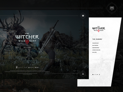 The Witcher 3 - Splash Screen & Navigation Menu menu video game witcher dark microsite web experience ux animation gaming game splash