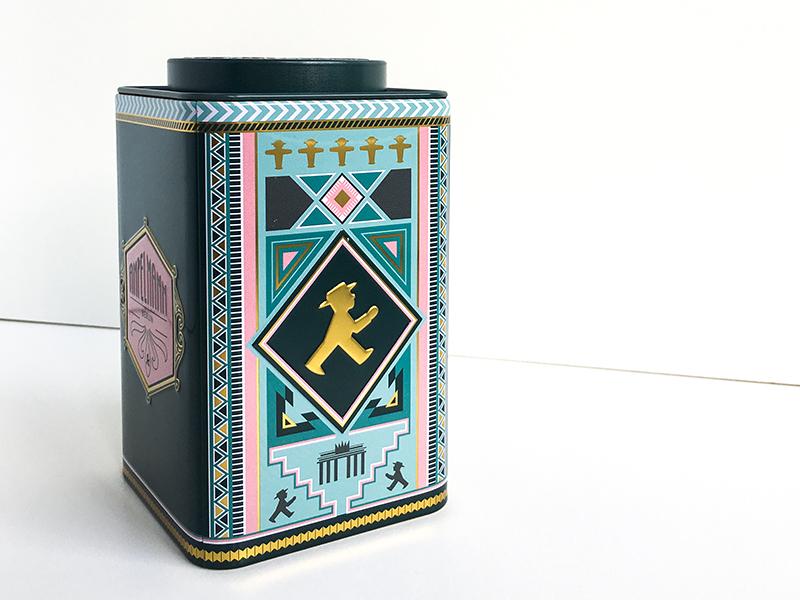 Tea Tin Design gift design tin tea gold embossing art deco graphic design labeling product design