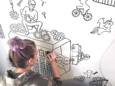 Office Mural doodle draw artwork wall office wall illustration mural