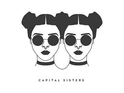 Techno Girls capital sisters sunglasses choker party berlin design graphic techno