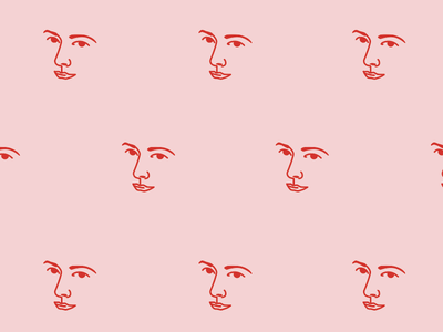 Pattern for a fabric print millenial pink line face design graphic pattern