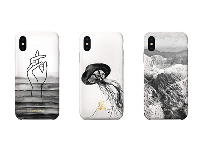 Phone Cases start up founder art direction designer graphic  design hand painted aquarelle jelly fish electronic music techno ocean phone case