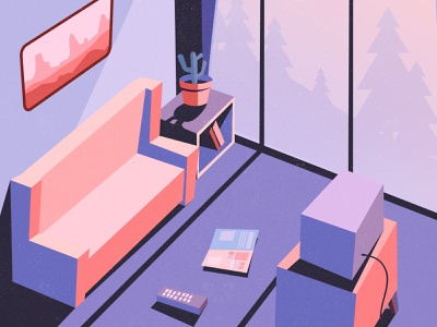 lazy room flat  design apartment sunset afternoon lazy isometric interior illustration