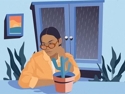 rainy days window cactus vector rain rainy day lifestyle flat portrait flat illustration flat design