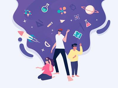Imagine with AR headsets, flat illustrations purple isometric logo icon flat portrait flat illustration vector web desgin ui  ux design flat  design lifestyle illustration
