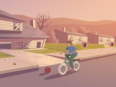 Childhood bycicle bike art ux ui sunset vector lazy interior flat portrait flat illustration logo icon isometric design flat  design lifestyle illustration