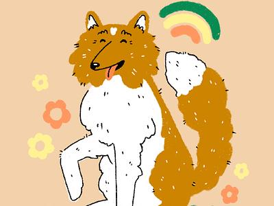 collie illustration dog rainbow doodle pet illustration illustration design