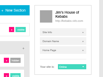 Jim's House of Kebabs virb wireframe build