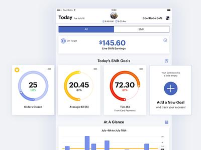 POS Dashboard Concept earnings goal gradient settings custom profile progress mobile ios ux ui dashboard